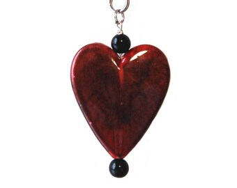 Big Red Heart Purse Charm or Zipper Pull