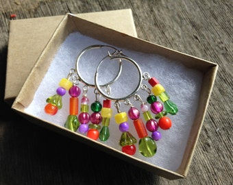 Bicycle earrings - sterling silver hoop earrings with multi-colored glass beads