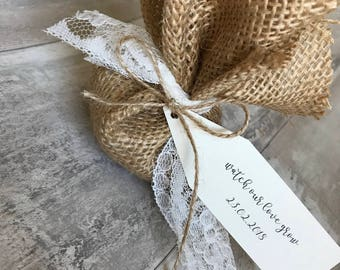Hessian flower seed pouch wedding favours