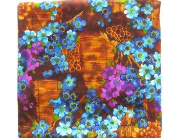 Vintage Floral Fabric / Mod Hawaiian Flower Print in Purple, Blues and Brown / Barkcloth Texture / MuuMuu / Tiki Fabric by the Yard / Aloha
