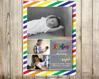 Birth Announcement - Rainbow Baby Veritcal- 3 photo - Digital File
