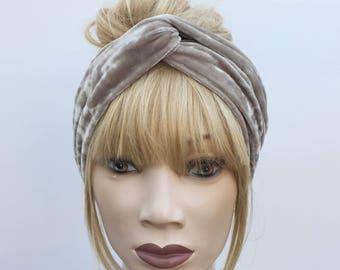Taupe neutral grey crushed velvet turban twist headband
