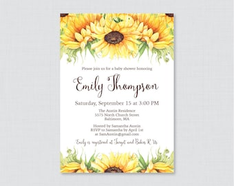 Sunflower Baby Shower Invitation Printable or Printed - Yellow Sunflower Baby Shower Invites, Rustic Baby Shower Invite, Fall or Summer 0051