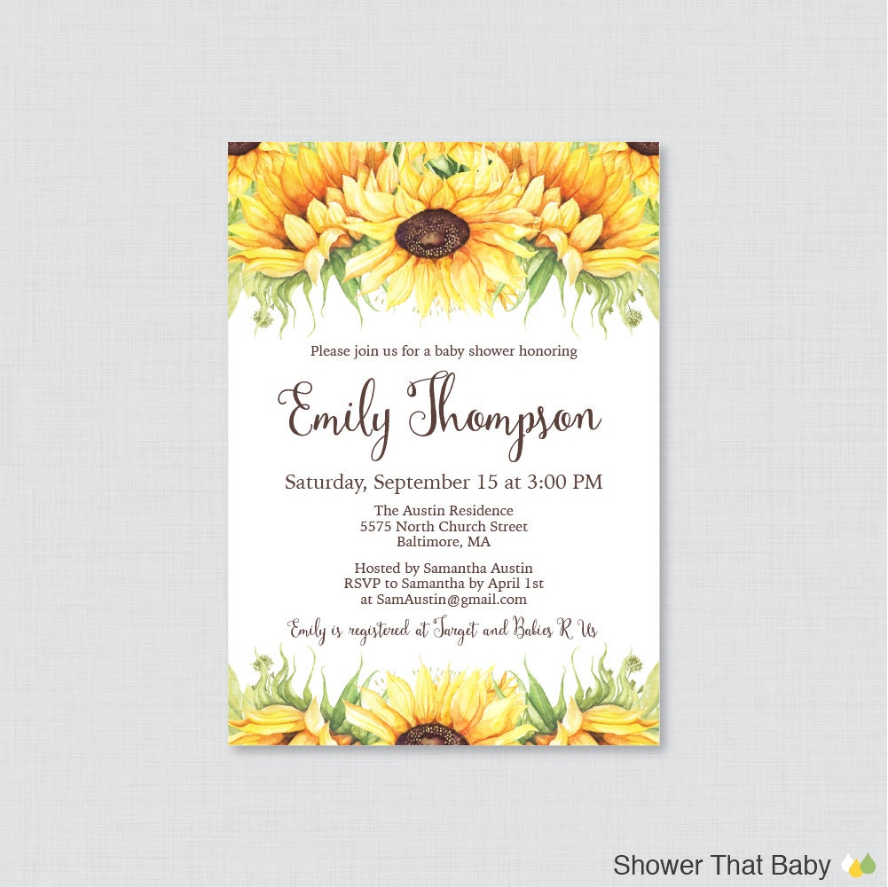 Sunflower Baby Shower Invitation Printable or Printed Yellow