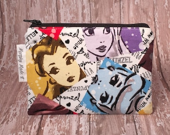 Disney Princess fabric coin purse, coin pouch, change purse, small zipper pouch, gadget case, passport hold, Princess watercolor fabric