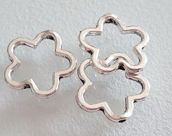 6 Silver 15 mm, flower ring flower connector flower connector beads