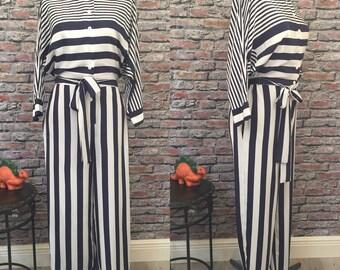 Vintage 1980's Mollie Parnis Navy Blue Striped Jumpsuit  Size Medium