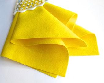 Yellow Wool Felt, 100% Merino, Choose A Size, European Felt, Wollfilz, DIY Craft Supply, Wool Applique, Waldorf Crafts, Soft Felt