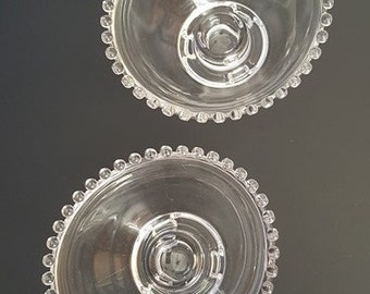 Imperial Candlewick Clear Glass, 3-Toed Candleholders