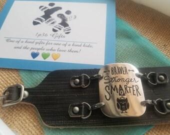 Braver Stronger Smarter IEP Empowerment Leather Cuff Bracelet