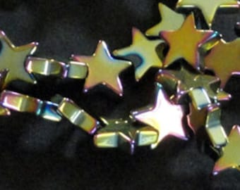 16 inch Strand HEMATITE Multi COLOR 9mm COLORIFIC Star Spacer Beads 63pc!!!