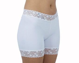 White Lace Biker Shorts Polka Dots Tap Pants Bridal Underwear