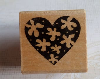 Stamp wood heart-shaped decoration set of flowers