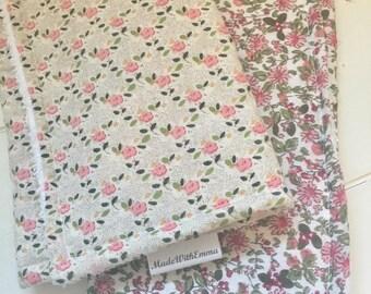Set of 2 x Handmade Baby Burp Cloths - Floral