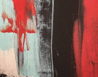 Red, Black, and Mint Blue Acrylic Painting on Canvas