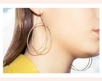 HOOLA HOOP XXL Hoop earrings. Sterling Silver. Modernist and Minimalist. Endless Spiral. Handmade.