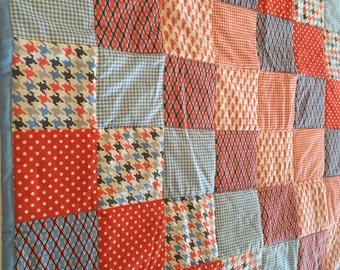 MOVING SALE - Blue and Red Baby or Toddler Quilt