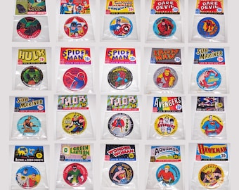 1966 Button World SUPER-HERO CLUB buttons complete set of 20 in poly  bags with header cards and custom made display stand