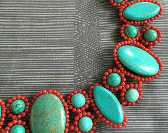 Bright blue Turquoise howlite & red coral beads necklace