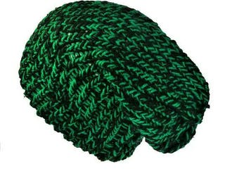 Black and green slouch hat handmade with soft acrylic & recycled yarn, can be worn as a dreadlock hat or knit beanie hat one size fits all
