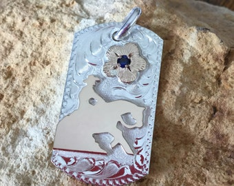 """Pendent/ Dog Tag/ Reining Horse/Artisan Handmade/ sterling silver  1 1/2""""x 1"""""""