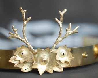woodland bandeau tiara sterling silver with gold plating