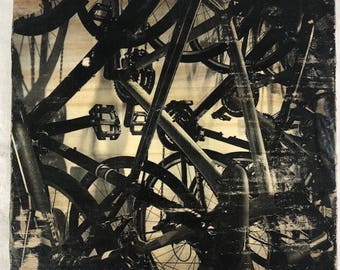 Bicycle image transfered to wood