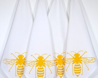 "Bee Cloth Napkins. Set of 4. Screen Printed. 100% Cotton. 18""x18""."