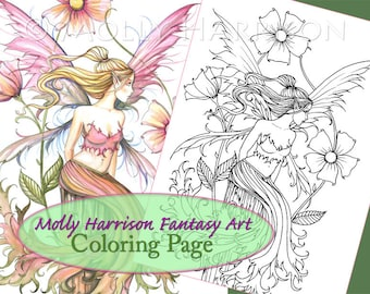 Pink Flower Fairy - Digital Stamp - Printable - Flower Fairy Art - Molly Harrison Fantasy Art - Digistamp Coloring Page - Digi Stamp
