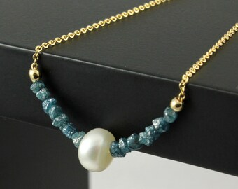 14K Gold Filled Necklace with Pearl and Rough Diamonds - Rare Blue Diamonds - Raw Uncut Diamonds - Freshwater Pearl