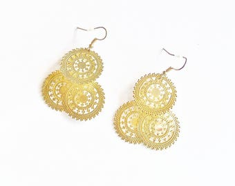 Earrings Dangle Gold Tone Earwires Wedding Jewelry Jewellery Bridal Party Prom Handmade Repurposed Parts Gift Guide Women