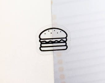 Clear Burger Stickers, Clear Planner Stickers, Bullet Journal Stickers, Food Stickers, Fast Food Stickers, Junk Food Stickers, Diet (c188)