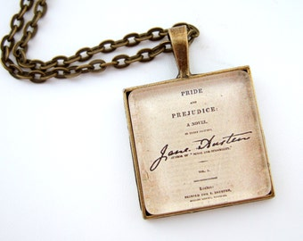 Jane Austen Necklace, Literary Necklace, Book Lover Gift, Literary Jewellery, Pride And Prejudice Necklace, Literary Gift, Book Jewellery
