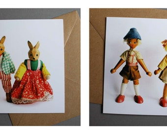 Set of four wooden figure greetings cards