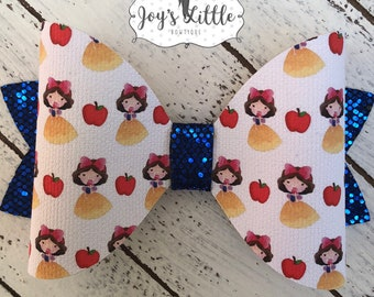 Snow White Faux Leather Bow, Princess Bow