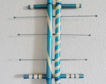 Blue and white painted bamboo wall jewelry holder