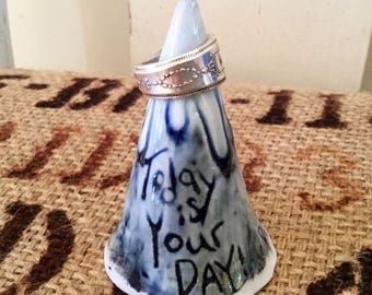 """Porcelain mountain ring holder.Says """"Today is your Day! - Dr. Seuss"""