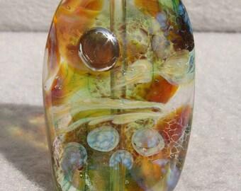 LYCEUM Handmade Lampwork Art Glass Focal Bead - Flaming Fools Lampwork Art Glass  sra