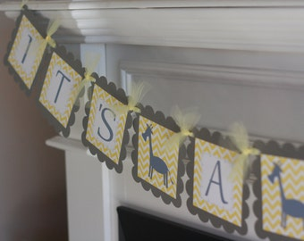 """Yellow Grey Chevron - """"Mommy to Be"""" """"Its a Boy"""" or """"It's a Girl"""" Giraffe Baby Shower Banner - Ask About Party Pack Specials"""