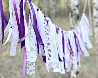 Lace Garland, Boho Chic, Lace Bunting, Purple Garland, Party Decor, Rustic Wedding Garland, Photo Prop, Shabby Chic Garland, Country Wedding