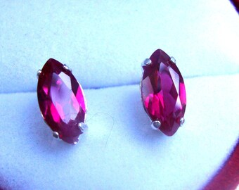 Earrings Red Ruby Marquise post studs - eco friendly sterling silver from recycled sources- 10x5mm  Vivid, assertive & Ready to mail