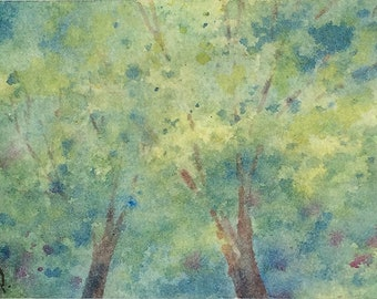 Original watercolor ACEO painting - Leafy canopy
