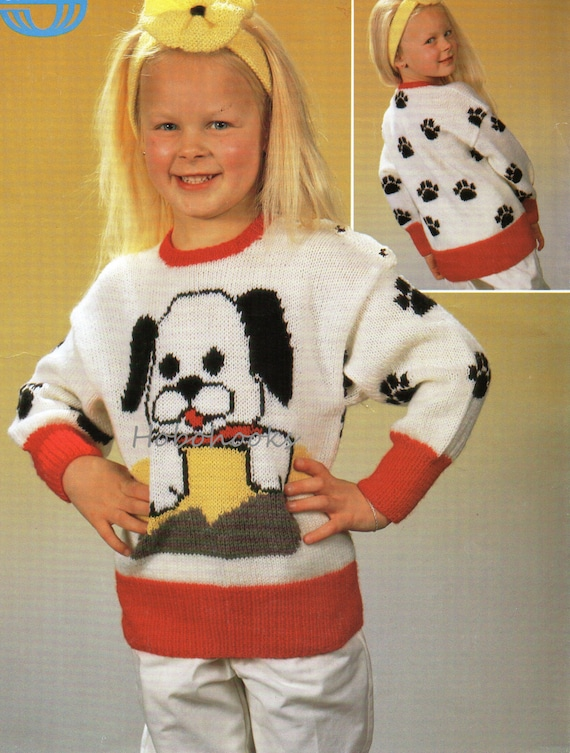 Childrens dog motif sweater childrens sweater knitting pattern dt1010fo