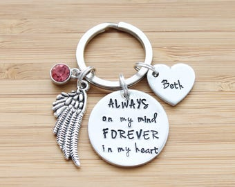 hand stamped keychain   always on my mind forever in my heart