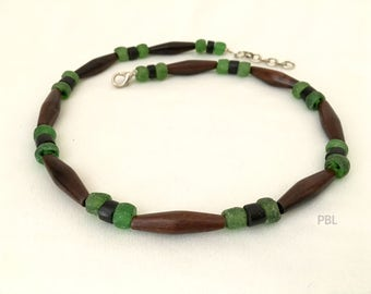 MEN'S CHOKER Unisex Beaded Necklace Recycled Pop Bottle, Buffalo Horn Beads Tribal Jewelry Boho