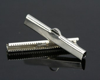 15 pcs 6x40 mm nickel plated ribbon crimp ends, ribbon crimp ends cap, with loop Findings N922 1784