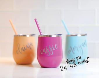 Stainless Steel Wine Tumbler Bridesmaid Gift | Wine Tumbler | Bachelorette Gift | Personalized Monogrammed Tumbler With Lid