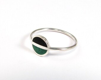 Sterling Silver Ring, Saturn, Black, Green, Modern, Contemporary, Minimal