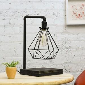 Black Desk Lamp Wood Base Diamond Cage Industrial Antique Edison Lamp Desk  Light