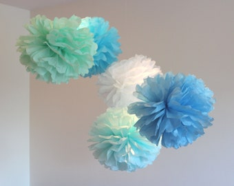 Tissue Paper Flowers set of 12 (6/6) - Mint/Blue/White Theme - Paper Pom Poms - Paper Balls - Wedding set - Birthday decorations